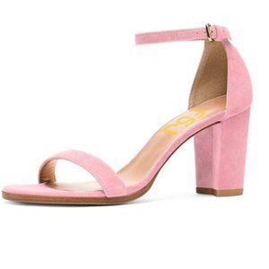 FSJ Light Pink Chunky Heel Ankle Strap Sandals